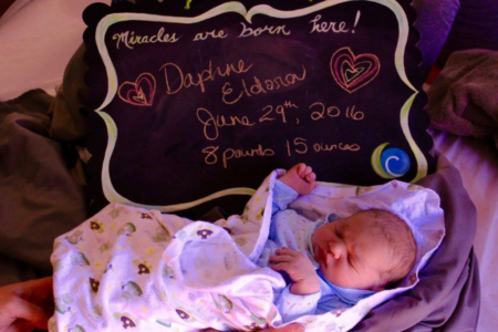 Baby Daphne welcome sign