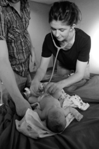 Baby Daphne examined by JoySpring student midwife
