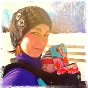 Baby Mauve outside on winter day with mom