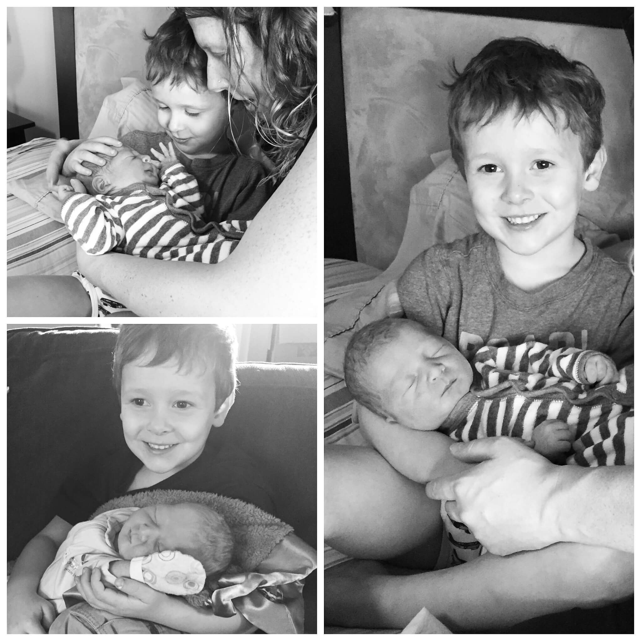 Baby Reid black and white collage with mother and brother