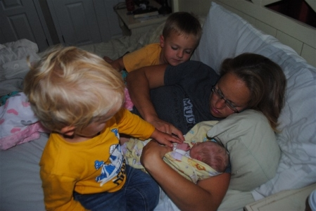 Baby Hannah meeting the family